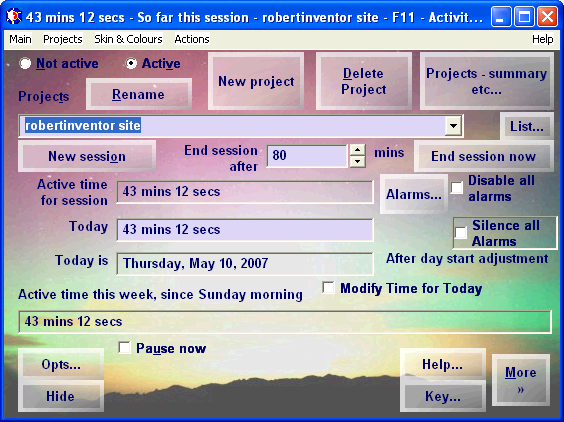 Work Log & Activity Timer Screen shot