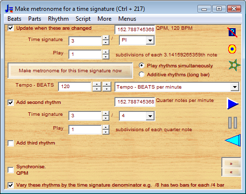 metronome for time signature 3/PI with 3/4 played simultaneously