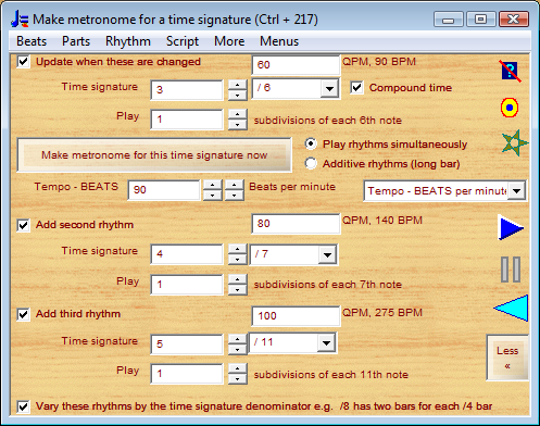metronome for time signature 3/6 with 4/7 with 5/11