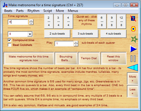 Time signature window with quick set buttons